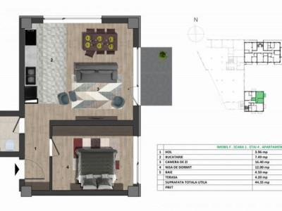 Apartament cu 2 camere, ctie noua, etaj 4/6, zona strazii Eugen Ionesco